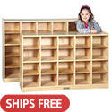 Large 20 & 25 Cubbie Tray Birch Storage Unit by ECR4Kids