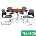 Breakroom Table & Four Plastic Chairs w/ Armrests by OFM