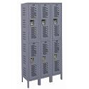Heavy-Duty Ventilated Double-Tier 3-Wide Lockers by Hallowell