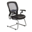 Light AirGrid Back Guest Chair with Leather Seat by Office Star