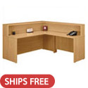 Series C L- Shaped Reception Desk with Hutch by Bush Inudstries