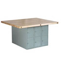 Four-Station Steel Workbench w/ Locker Base by Shain