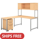 Click here for more 400 Series L-Shaped Desk with Hutch, Return, and 3 Drawer Mobile File Cabinet by Bush Business Furniture by Worthington