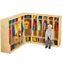 Corner Coat Locker with Step by Jonti-Craft