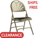 Leather & Memory Foam Padded Fanback Steel Folding Chairs by Samsonite