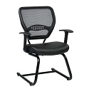 Professional AirGrid Back Guest Chair with Eco Leather Seat by Office Star