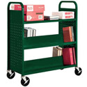 Book Truck with 4 Slant Shelves and Flat Top by Sandusky Lee