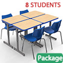 Classroom Set - 8 Silhouette Single Desks & 8 Flavors Chairs by Smith System