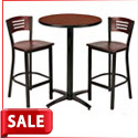 Arched Base Barstool Height Cafe Table & Slat Back Barstool by KFI