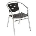Aluminum and Plastic Outdoor Stack Chair with Arms by KFI Seating
