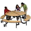 Round Mobile Bench School Cafeteria Tables by Midwest
