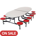 Mobile Stool Table w/ Elliptical Top by Amtab