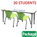 Classroom Set- 10 Double Apex Dry Erase Desks & 20 Chairs by Marco Group
