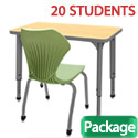 Classroom Set- 20 Single Apex Desks & Chairs by Marco Group
