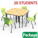 Click here for more Classroom Set- 20 Triangle Apex Desks & Chairs by Marco Group by Worthington