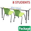 Classroom Set- 4 Double Apex Dry Erase Desks & 8 Chairs by Marco Group