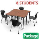 Classroom Set- 8 Dog Bone Apex Desks & Chairs by Marco Group