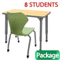 Classroom Set- 8 Single Apex Desks & Chairs by Marco Group
