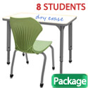 Classroom Set- 8 Single Apex Dry Erase Desks & Chairs by Marco Group