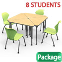 Classroom Set- 8 Triangle Apex Desks & Chairs by Marco Group