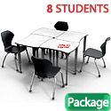 Click here for more Classroom Set- 8 Dog Bone Dry Erase Apex Desks & Chairs by Marco Group by Worthington