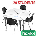 Classroom Set- 20 Triangle Apex Dry Erase Desks & Chairs by Marco Group