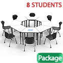 Click here for more Classroom Set- 8 Trapezoid Apex Dry Erase Desks & Chairs by Marco Group by Worthington