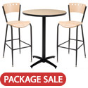 Click here for more Arched Base Bar Height Cafe Table with Two BR3818A Barstools by KFI by Worthington