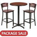 Arched Base Bar Height Cafe Table with Two BR3315B Barstools by KFI