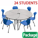 Classroom Set- 24 Single Apex Chevron Desks & Chairs by Marco Group