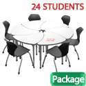 Classroom Set- 24 Single Apex Chevron Dry Erase Desks & Chairs by Marco Group