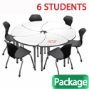 Click here for more Classroom Set- 6 Single Apex Chevron Dry Erase Desks & Chairs by Marco Group by Worthington