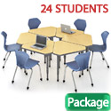 Classroom Set- 24 Single Apex Gem Desks & Chairs by Marco Group