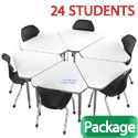 Classroom Set- 24 Single Apex Gem Dry Erase Desks & Chairs by Marco Group