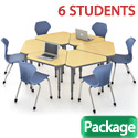 Classroom Set- 6 Single Apex Gem Desks & Chairs by Marco Group