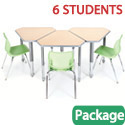 Classroom Set - 6 Diamond Desks & Flavors Chairs by Smith System