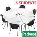 Classroom Set- 6 Single Apex Gem Dry Erase Desks & Chairs by Marco Group