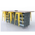 The Ed Double Storage Table w/6 Magnetic Stools by CEF