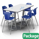 Dual Base Dry Erase Bar Height Table & Stool Packages by Marco Group