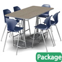 Dual Base Bar Height Table & Stool Packages by Marco Group