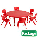 Round Plastic Resin Activity Table & Chair Sets by ECR4Kids
