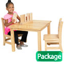 Square Hardwood Table & Chair Sets by ECR4Kids