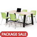 Midtown Rectangle Cafe Table with Kool Seating Package by KFI