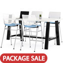 Midtown Rectangle Cafe Standing Height Table with Kool Barstool Package by KFI