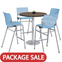 Click here for more Silver Base Bar Height Cafe Table with Four Kool Barstools by KFI by Worthington