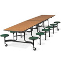 Mobile Folding Stool Cafeteria Tables w/ Black Powder Coat Frames by Virco