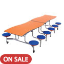 Wave Top Mobile Stool Cafeteria Table by Amtab