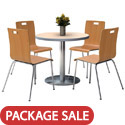 Silver Base Cafe Table with Four Jive Stack Chairs by KFI