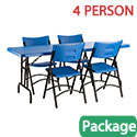 Blue Plastic Folding Table & Blue Seat Package by National Public Seating