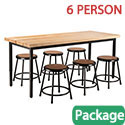 Click here for more Butcher Block Height Adjustable Table & Black Stool Package by National Public Seating by Worthington